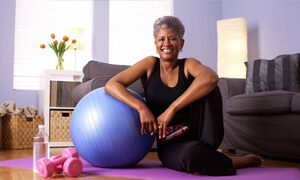 Smiling senior woman getting healthy