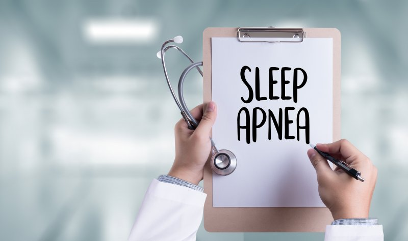 Closeup of clipboard with the words sleep apnea